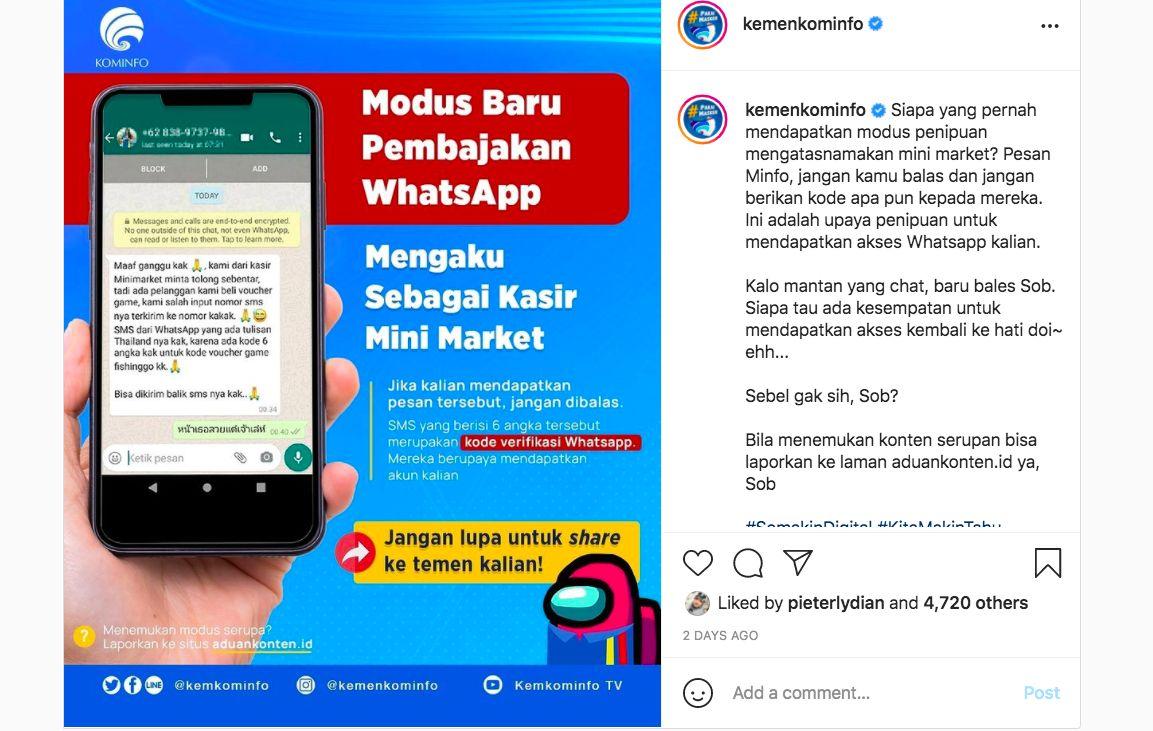 Modus pembajakan WhatsApp dengan mengaku sebagai kasir mini market
