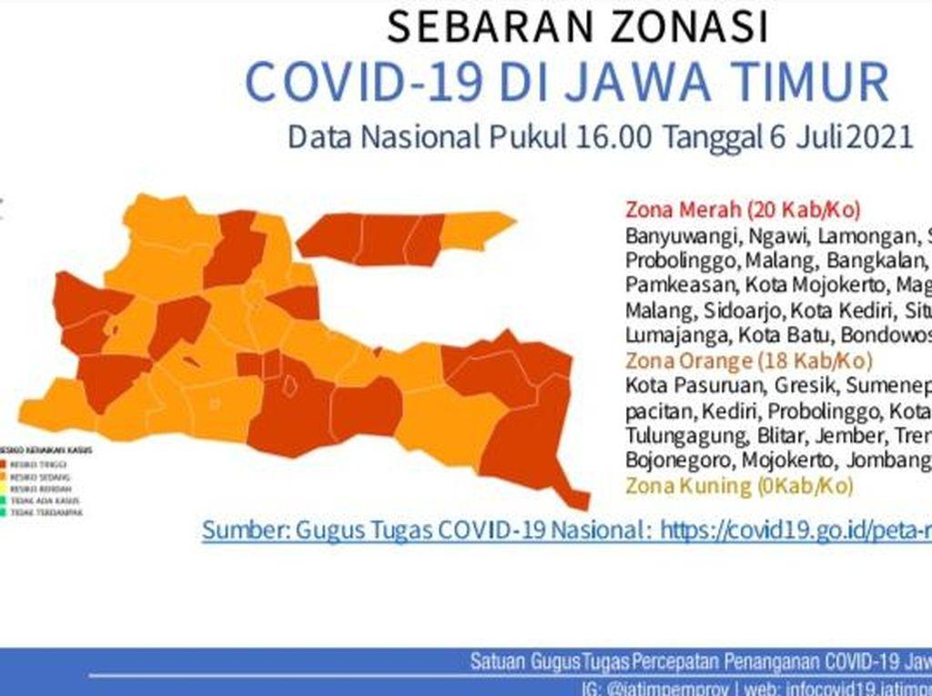 Ini 20 Kabupaten/Kota di Jatim yang Jadi Zona Merah COVID-19