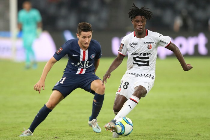 SHENZHEN, CHINA - AUGUST 03: Eduardo Camavinga of Stade Rennais FC in action during the 2019 Trophee des Champions between Paris saint-Germain and Stade Rennais FC at Shenzhen Uniersiade Sports Center on August 3, 2019 in Shenzhen, China. (Photo by Lintao Zhang/Getty Images)