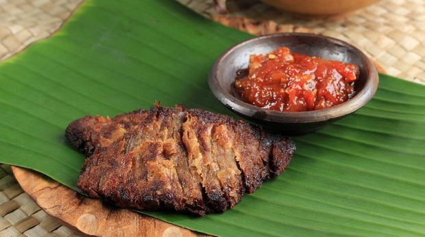 Close Up Gepuk is a Traditional Indonesian Food Made from Beef with a Sweet and Savory Taste, Usually Called Empal too. Gepuk Means Squash the Beef until Tender.