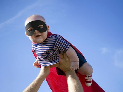 Little super baby flying high and fighting crime.