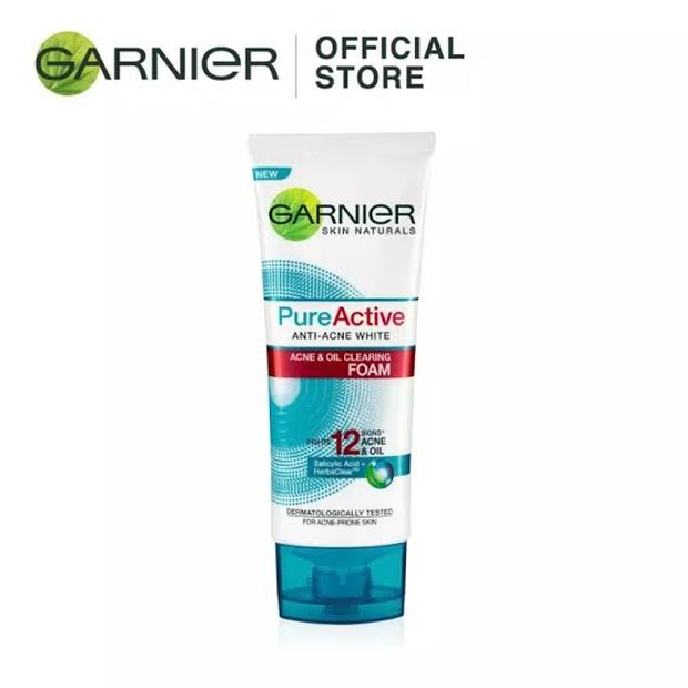 Garnier Pure Active & Oil Cleansing Foam(sumber : shopee.co.id/asianmartcosmetics)