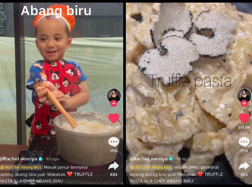 Mewah! Anak Rachel Vennya Bikin Pasta Berbahan Jamur Puluhan Juta