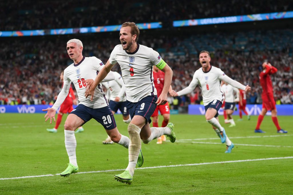 LONDON, ENGLAND - JULY 07: Harry Kane of England celebrates after scoring their side's second goal from the penaduring the UEFA Euro 2020 Championship Semi-final match between England and Denmark at Wembley Stadium on July 07, 2021 in London, England. (Photo by Laurence Griffiths/Getty Images)