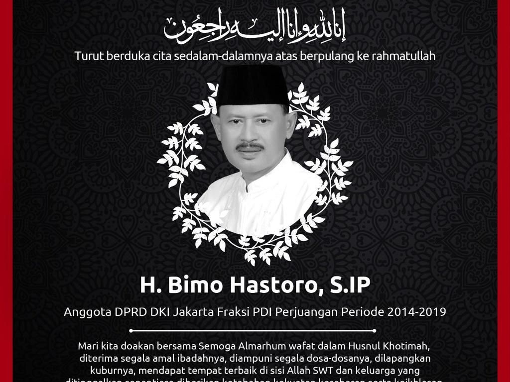 Anggota DPRD DKI 2014-2019 Bimo Hastoro Wafat, Dimakamkan Protap COVID