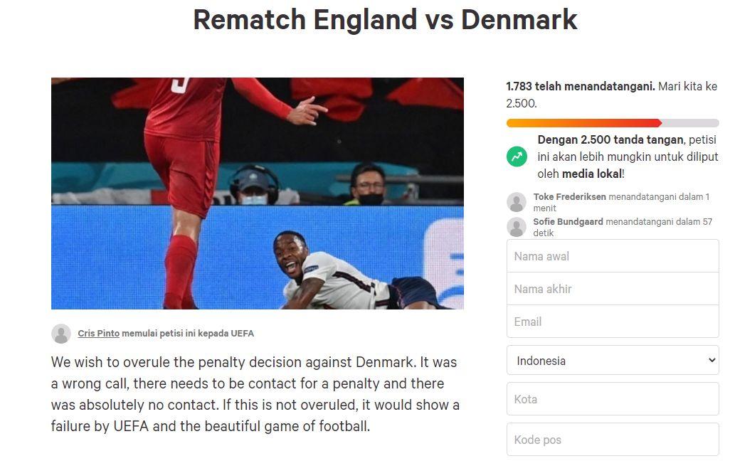 Petisi daring menuntut pertandingan Inggris vs Denmark pada semifinal Piala Eropa 2020 diulang, Kamis 8 Juli 2021.