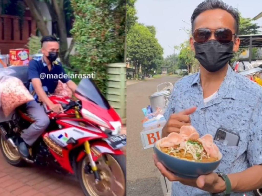 Viral Tukang Bubur Keliling Pakai Motor Sport Harga Rp 30 Jutaan!