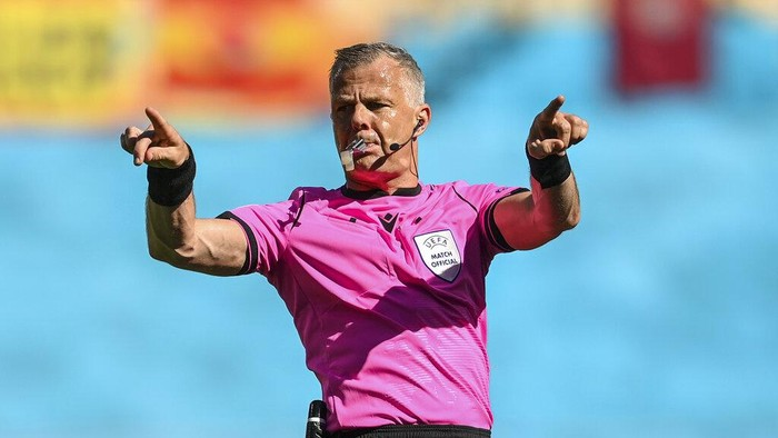 FILE - In this June 23, 2021 file photo referee Bjorn Kuipers gestures during the Euro 2020 soccer championship group E match at La Cartuja stadium in Seville, Spain. Kuipers will referee the Euro 2020 final between Italy and England, which will be played on Sunday at Wembley Stadium in London (David Ramos, Pool photo via AP, File)