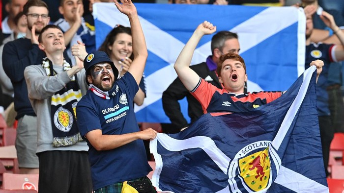GLASGOW, SCOTLAND - JUNE 22: Scotland fans show their support prior to the UEFA Euro 2020 Championship Group D match between Croatia and Scotland at Hampden Park on June 22, 2021 in Glasgow, Scotland. (Photo by Paul Ellis - Pool/Getty Images)