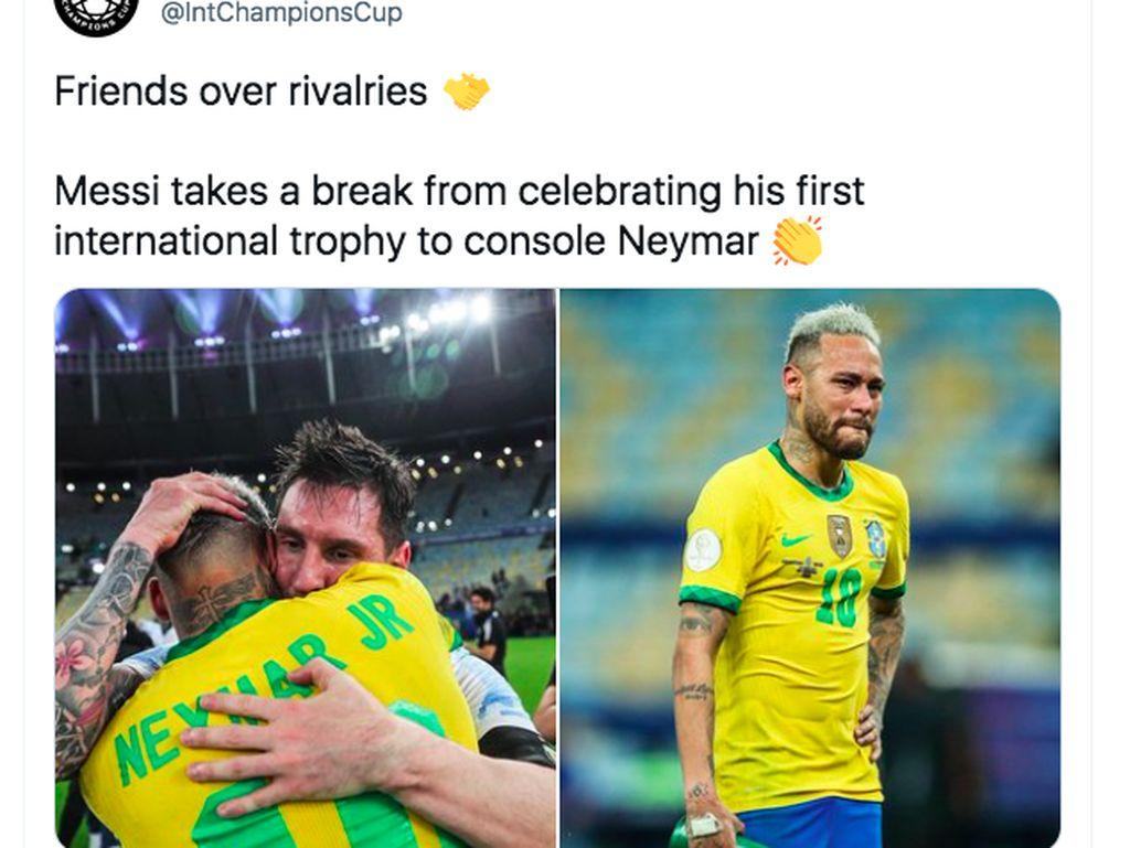 Netizen Terharu Messi Peluk Neymar dan Samai Ronaldo