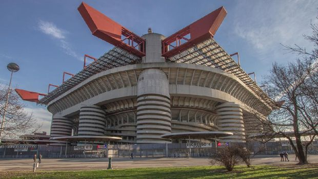 Milan, Italy - January 25, 2014 : The exterior of San Siro Stadium. It is the home stadium of both A.C. Milan and F.C. Internazionale Milano. This stadium has capacity of 81,277 seats.