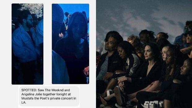 Angelina Jolie mengajak anak-anaknya untuk menonton konser yang dihadiri The Weekend