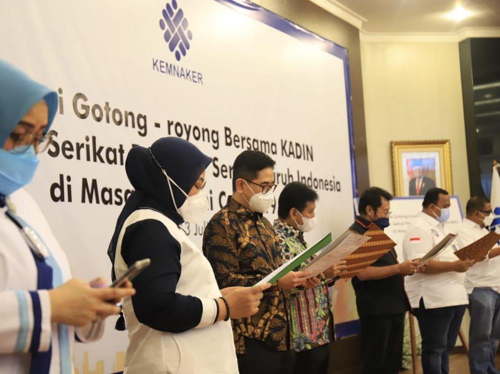 Kemnaker, Apindo, Kadin & Pekerja Deklarasi Gotong Royong PPKM Darurat