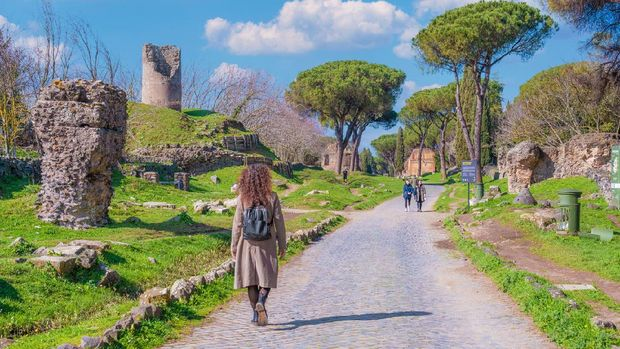 Rome, Italy - 20 February 2021 - The archeological ruins in the Appian Way of Roma (in italian: