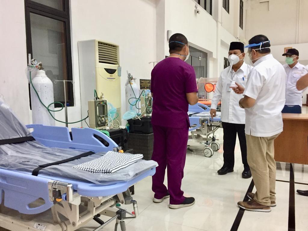 Prabowo Cek Pusdiklat Jemenhan & Pusbahasa untuk Jadi RS Darurat Corona