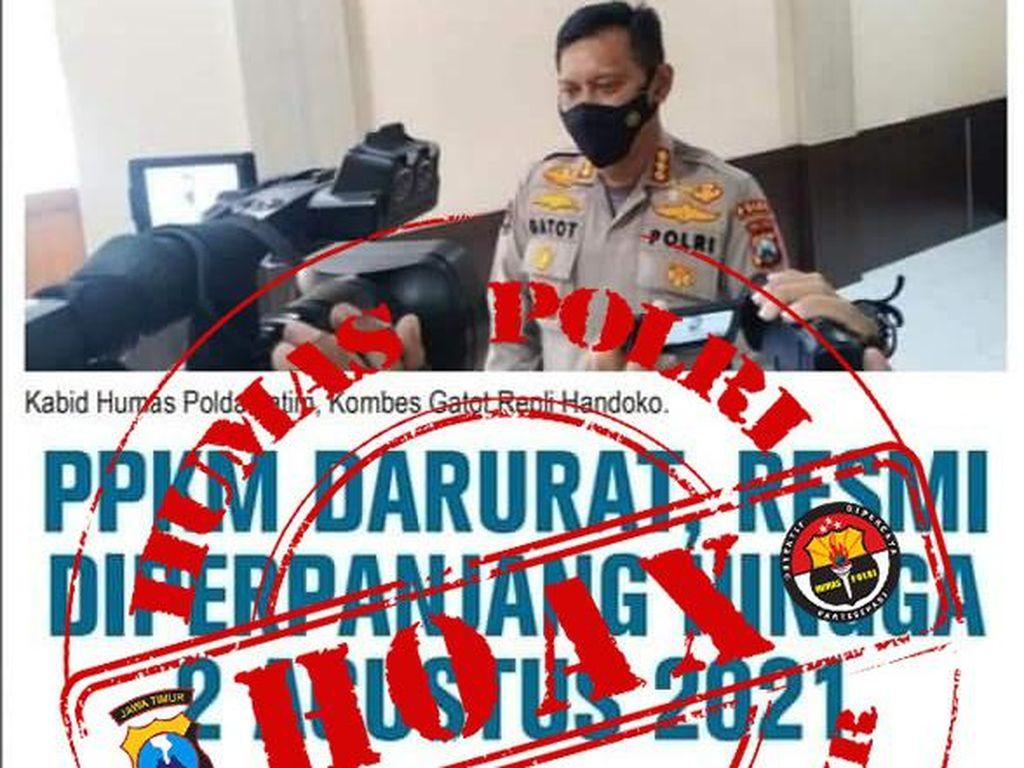 Kabar PPKM Darurat Diperpanjang Hingga 2 Agustus, Polda Jatim: Hoaks