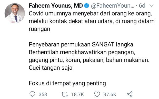 Saran dokter faheem younus untuk rajin cuci tangan