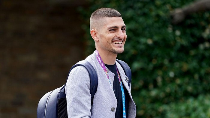 FLORENCE, ITALY - JULY 01: Marco Verratti of Italy leaves from Florence airport for Munich on July 01, 2021 in Florence, Italy. (Photo by Claudio Villa/Getty Images)