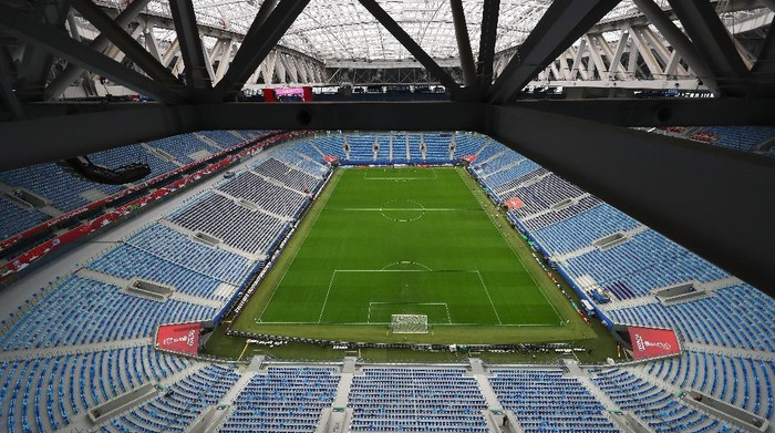 SAINT PETERSBURG, RUSSIA - JULY 01:  A general view of the ground, seats, roof and set up of the The Krestovsky Stadium, also called Zenit Arena at the FIFA Confederations Cup Russia 2017 on July 1, 2017 in Saint Petersburg, Russia.  (Photo by Dean Mouhtaropoulos/Getty Images)