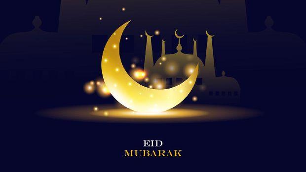 eid mubarak,Beautiful moon and lanterns design for ramadan kareem stock illustration