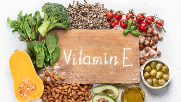 Foods rich in vitamin E. Healthy diet eating concept