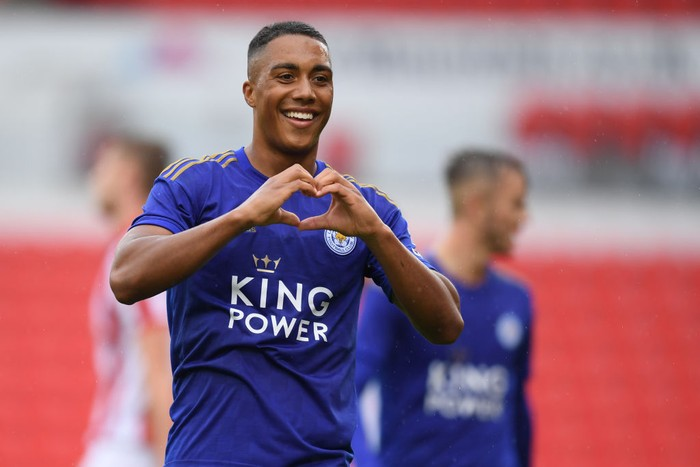 STOKE ON TRENT, ENGLAND - JULY 27: Youri Tielemans of Leicester celebrates his goal during the Pre-Season Friendly match between Stoke City and Leicester City at the Bet365 Stadium on July 27, 2019 in Stoke on Trent, England. (Photo by Michael Regan/Getty Images)
