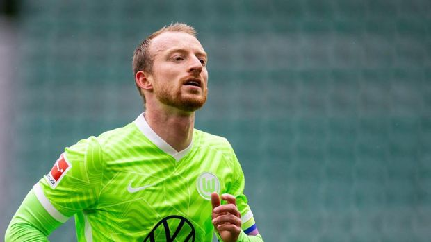 Wolfsburg's German midfielder Maximilian Arnold runs during the German first division Bundesliga football match VfL Wolfsburg v Mainz 05 in Wolfsburg, on May 22, 2021. (Photo by Odd ANDERSEN / AFP) / DFL REGULATIONS PROHIBIT ANY USE OF PHOTOGRAPHS AS IMAGE SEQUENCES AND/OR QUASI-VIDEO