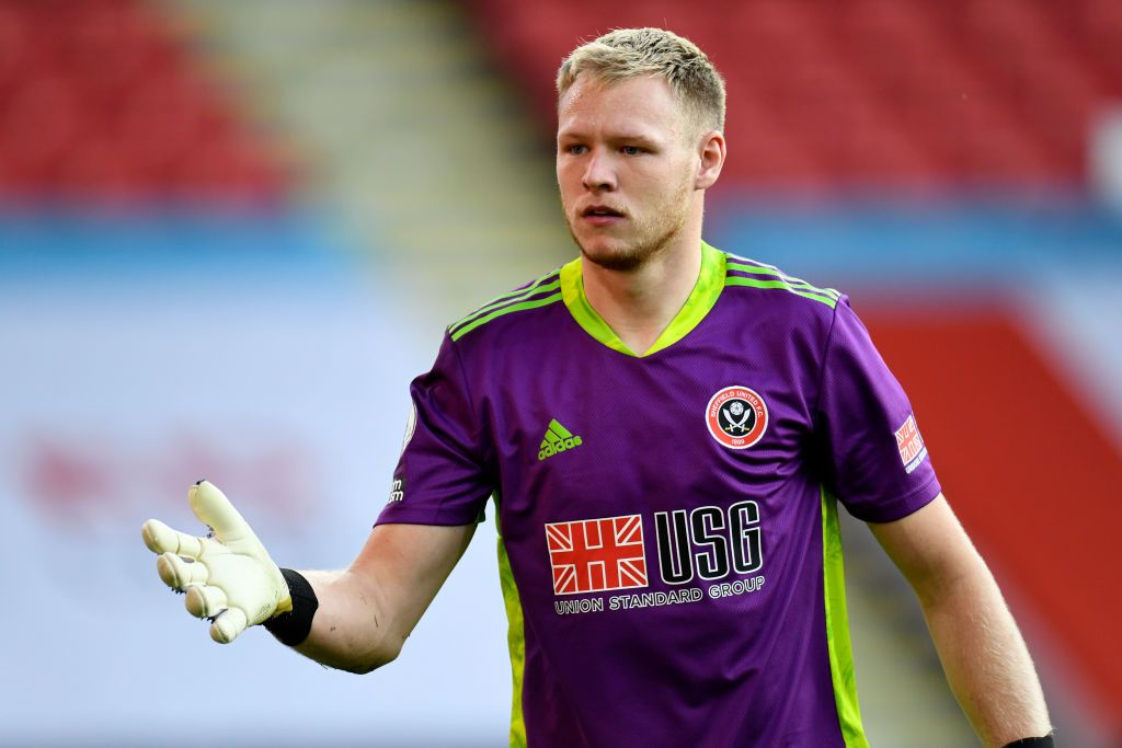 SHEFFIELD, ENGLAND - SEPTEMBER 14: Aaron Ramsdale of Sheffield United looks on during the Premier League match between Sheffield United and Wolverhampton Wanderers at Bramall Lane on September 14, 2020 in Sheffield, England. (Photo by Peter Powell/Pool via Getty Images)