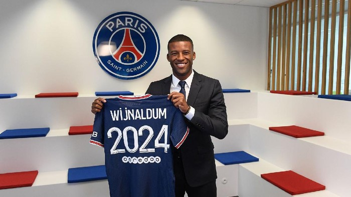 Georginio Wijnaldum resmi diperkenalkan sebagai pemain baru Paris Saint-Germain di Paris, Prancis, Kamis 22 Juli 2021.