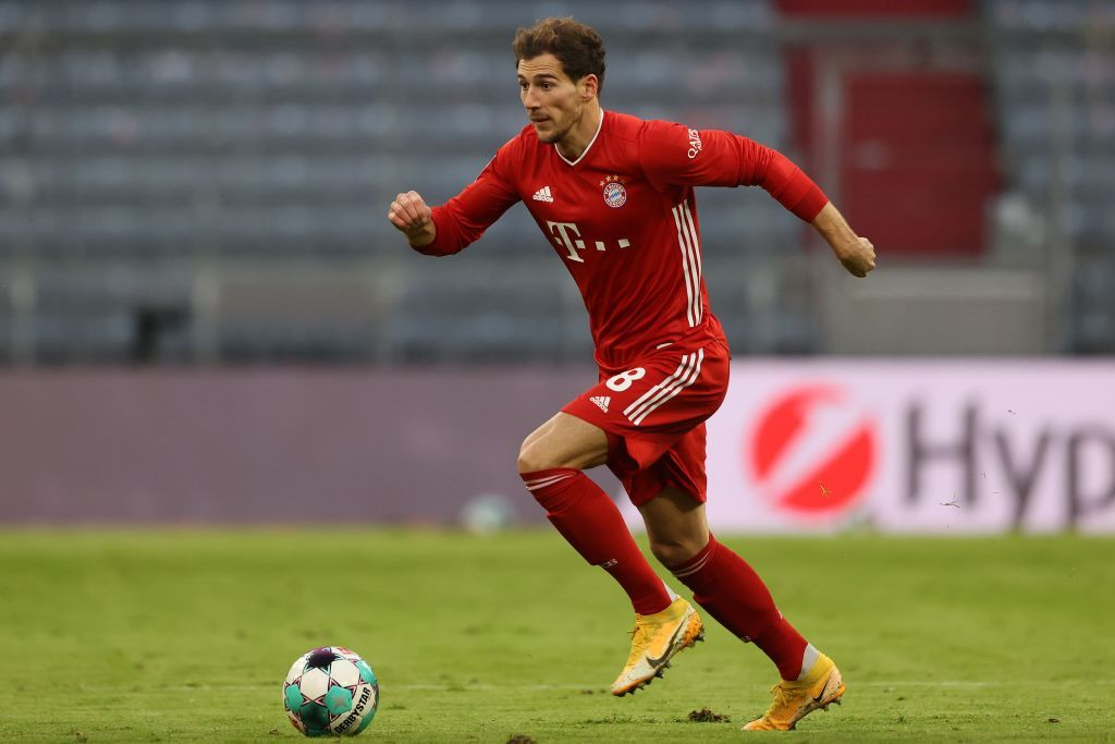 MUNICH, GERMANY - JUNE 20: Leon Goretzka of FC Bayern Muenchen looks on during the Bundesliga match between FC Bayern Muenchen and Sport-Club Freiburg at Allianz Arena on June 20, 2020 in Munich, Germany. (Photo by Alexander Hassenstein/Getty Images)