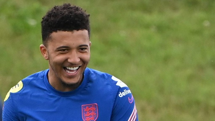 Englands forward Jadon Sancho attends an England training session at St Georges Park in Burton-on-Trent, central England, on July 5, 2021. - England take on Denmark at Wembley on July 7, 2021 in the semi-finals of the UEFA EURO 2020. (Photo by Paul ELLIS / AFP)