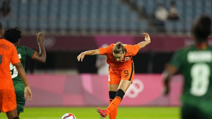 Netherlands' Vivianne Miedema celebrates after scoring a goal against Zambia during a women's soccer match at the 2020 Summer Olympics, Wednesday, July 21, 2021, in Rifu, Japan. (AP Photo/Andre Penner)