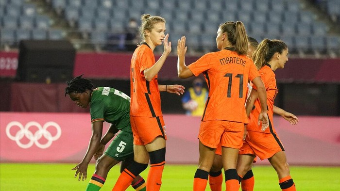 Netherlands Vivianne Miedema celebrates with her teammates after scoring a goal against Zambia during a womens soccer match at the 2020 Summer Olympics, Wednesday, July 21, 2021, in Rifu, Japan. (AP Photo/Andre Penner)