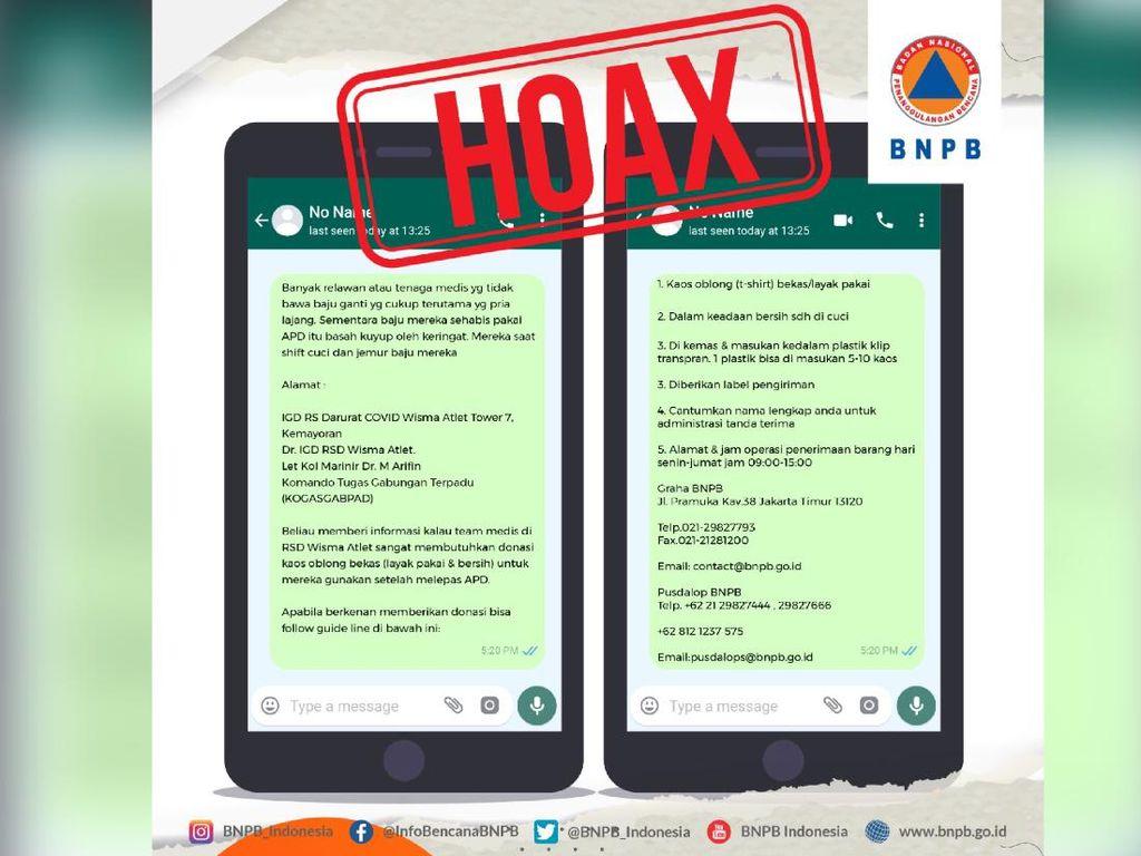 Beredar Donasi Kaos Oblong untuk Nakes di RSD Wisma Atlet, BNPB: Hoax!