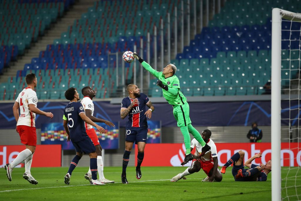 LEIPZIG, GERMANY - NOVEMBER 04: Keylor Navas of Paris Saint-Germain looks on prior to the UEFA Champions League Group H stage match between RB Leipzig and Paris Saint-Germain at Red Bull Arena on November 04, 2020 in Leipzig, Germany. (Photo by Maja Hitij/Getty Images)