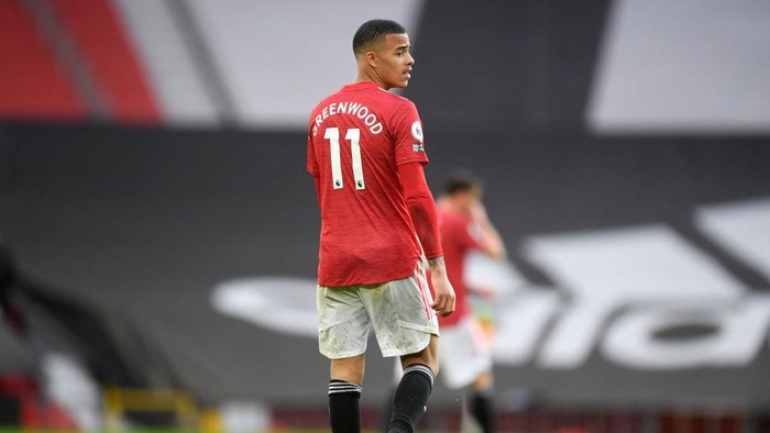 MANCHESTER, ENGLAND - MAY 11: Mason Greenwood of Manchester United looks on during the Premier League match between Manchester United and Leicester City at Old Trafford on May 11, 2021 in Manchester, England. Sporting stadiums around the UK remain under strict restrictions due to the Coronavirus Pandemic as Government social distancing laws prohibit fans inside venues resulting in games being played behind closed doors.  (Photo by Michael Regan/Getty Images)