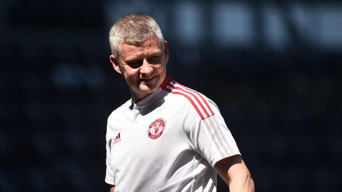 DERBY, ENGLAND - JULY 18: Ole Gunnar Solskjaer manager of Manchester United looks during the pre-season friendly match between Derby County and Manchester United at Pride Park on July 18, 2021 in Derby, England. (Photo by Nathan Stirk/Getty Images)