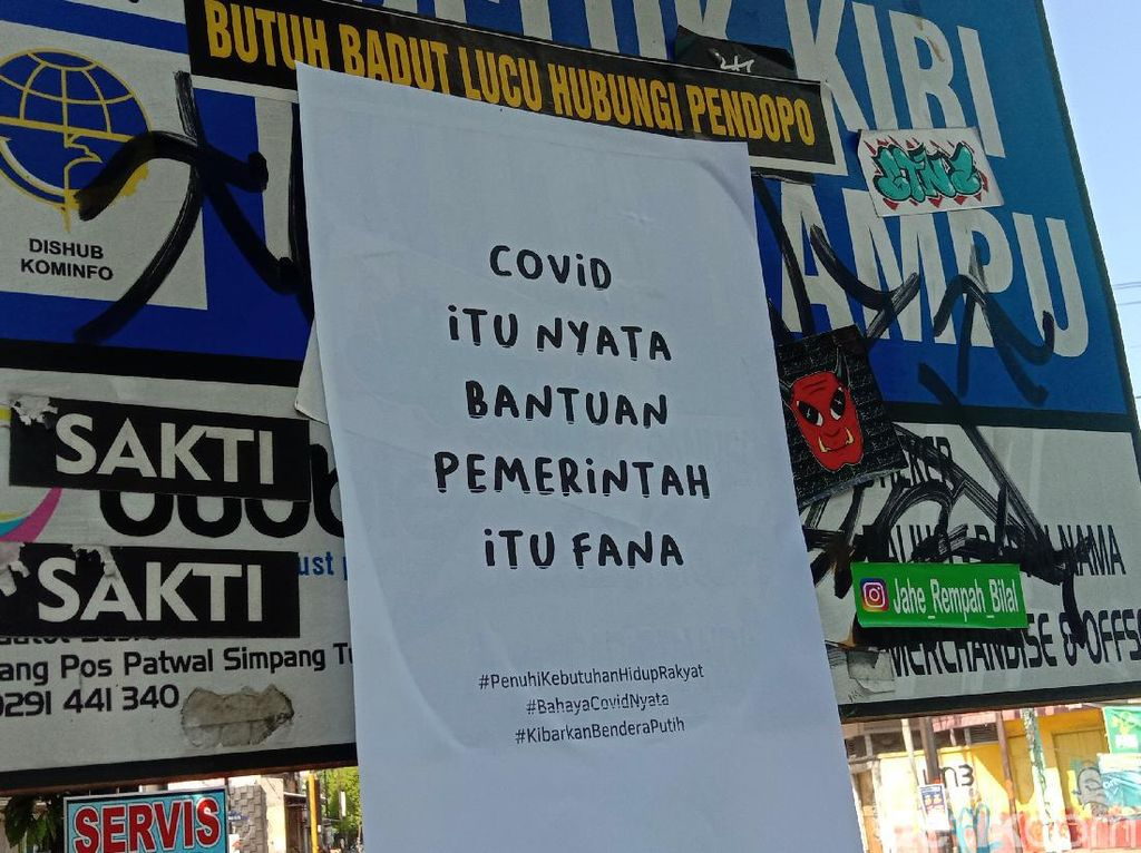Selebaran Kritik PPKM Nyebar: COVID Itu Nyata-Bantuan Pemerintah Fana