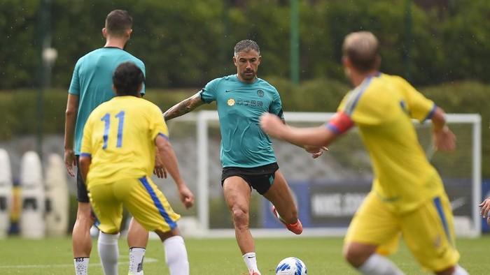 Inter Milan menjalani sesi latih tanding menghadapi Pergolettese di Suning Training Camp, Milan, Minggu 25 Juli 2021.