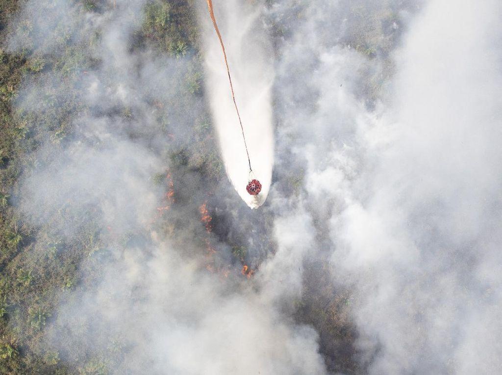 Melihat Pemadaman Kebakaran Lahan dari Udara di Sumsel