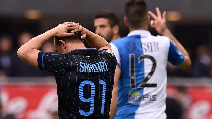 MILAN, ITALY - MAY 03:  Xherdan Shaqiri of Internazionale Milano shows his dejection during the Serie A match between FC Internazionale Milano and AC Chievo Verona at Stadio Giuseppe Meazza on May 3, 2015 in Milan, Italy.  (Photo by Tullio M. Puglia/Getty Images)