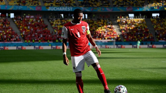 BUCHAREST, ROMANIA - JUNE 21: David Alaba of Austria during the UEFA Euro 2020 Championship Group C match between Ukraine and Austria at National Arena on June 21, 2021 in Bucharest, Romania. (Photo by Justin Setterfield/Getty Images)