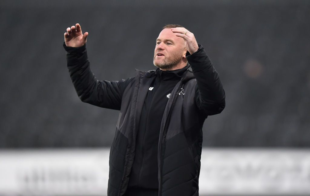 DERBY, ENGLAND - DECEMBER 12: Interim Manager of Derby County Wayne Rooney during the Sky Bet Championship match between Derby County and Stoke City at Pride Park Stadium on December 12, 2020 in Derby, England. (Photo by Tony Marshall/Getty Images)