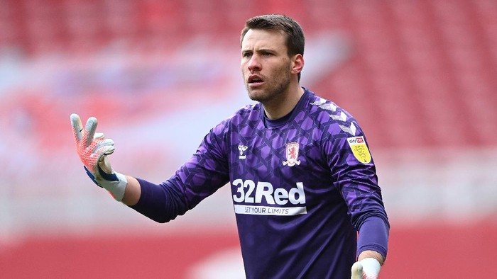 MIDDLESBROUGH, ENGLAND - APRIL 05: Goalkeeper Marcus Bettinelli of Middlesbrough reacts during the Sky Bet Championship match between Middlesbrough and Watford at Riverside Stadium on April 05, 2021 in Middlesbrough, England. Sporting stadiums around the UK remain under strict restrictions due to the Coronavirus Pandemic as Government social distancing laws prohibit fans inside venues resulting in games being played behind closed doors. (Photo by Stu Forster/Getty Images)