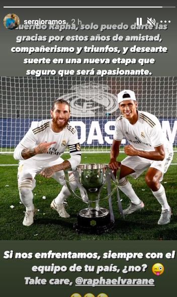 Sergio Ramos memberikan pesan kepada Raphael Varane