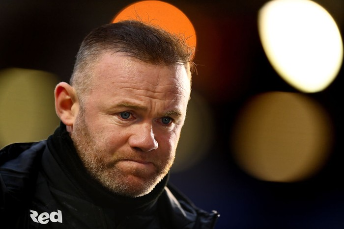 BIRMINGHAM, ENGLAND - MARCH 06: Wayne Rooney, manager of Derby County talks to the press after the Sky Bet Championship match between Coventry City and Derby County at St Andrews Trillion Trophy Stadium on March 06, 2021 in Birmingham, England. Sporting stadiums around the UK remain under strict restrictions due to the Coronavirus Pandemic as Government social distancing laws prohibit fans inside venues resulting in games being played behind closed doors. (Photo by Clive Mason/Getty Images)