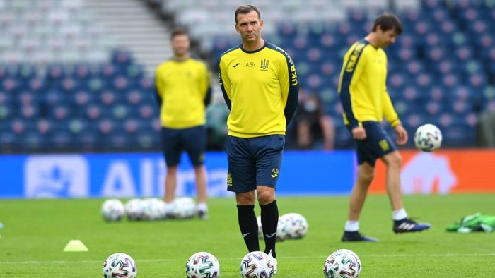 GLASGOW, SCOTLAND - JUNE 28: Andriy Shevchenko, Head Coach of Ukraine looks on during the Ukraine Training Session ahead of the UEFA Euro 2020 Round of 16 match between Sweden and Ukraine at Hampden Park on June 28, 2021 in Glasgow, Scotland. (Photo by Stu Forster/Getty Images)