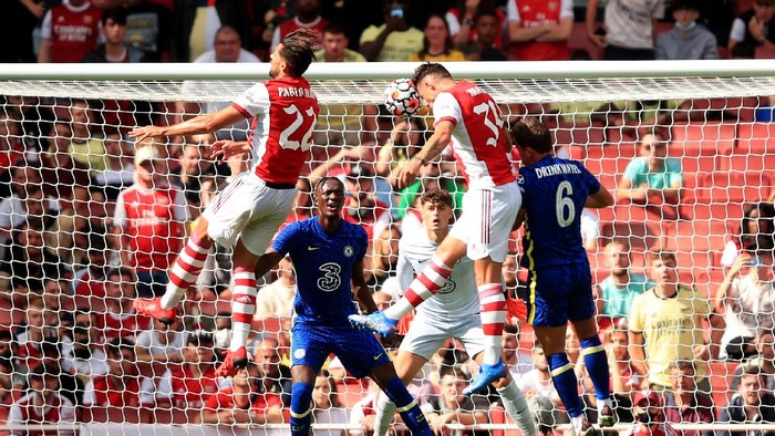 LONDON, ENGLAND - AUGUST 01: Granit Xhaka of Arsenal scores a goal during the Pre Season Friendly between Arsenal and Chelsea at Emirates Stadium on August 1, 2021 in London, England. (Photo by Marc Atkins/Getty Images)