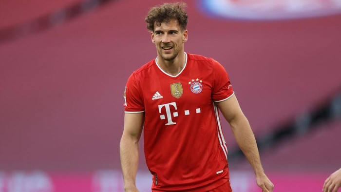 MUNICH, GERMANY - MAY 08: Leon Goretzka of FC Bayern München looks on during the Bundesliga match between FC Bayern Muenchen and Borussia Moenchengladbach at Allianz Arena on May 08, 2021 in Munich, Germany. (Photo by Alexander Hassenstein/Getty Images)