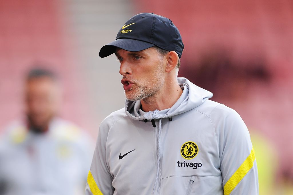 BOURNEMOUTH, ENGLAND - JULY 27: Thomas Tuchel, Manager of Chelsea talks as he is interviewed pitchside prior to the Pre-Season Friendly match between AFC Bournemouth and Chelsea at Vitality Stadium on July 27, 2021 in Bournemouth, England. (Photo by Alex Burstow/Getty Images)